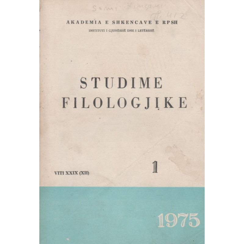 Studime filologjike 1975, vol. 1