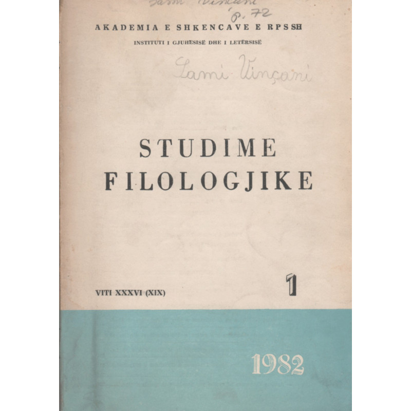 Studime Filologjike 1982, vol. 1
