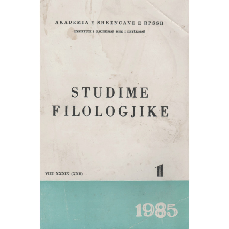 Studime Filologjike 1985, vol. 1